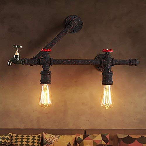 Parlaments-Retro- industrieller Wind schmiedete Wasser-Rohr-Wandlampe, kreative, Restaurant-Stab-Weg-Glühlampen-Laternen-Lampen (Größe: 1 Lampe), 2 Lampe -