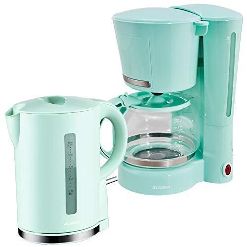 Alaska Frühstücksset 2209 | Schwarz/Rot/Blau/Grün | 2 in 1 | Kaffeemaschine + Wasserkocher | 1,25 l | Warmhaltefunktion | Überhitzungs- und Trockengehschutz | Abschaltautomatik | 1,7 l | (Grün)