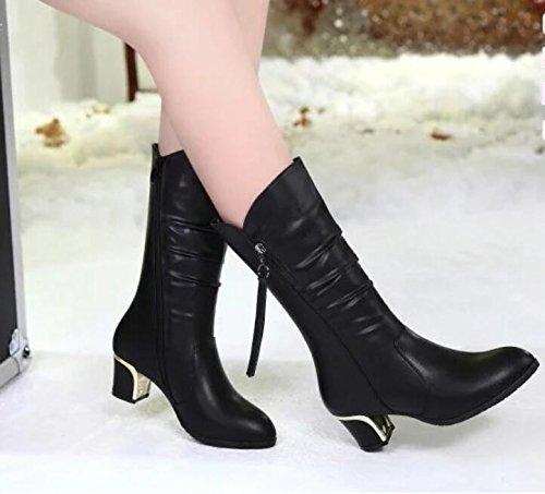 Khskx-new Chaussures nouvelles Bottes d'hiver Bottes Bottes en Femme avec femelle Bottes avec épais Thirty-six
