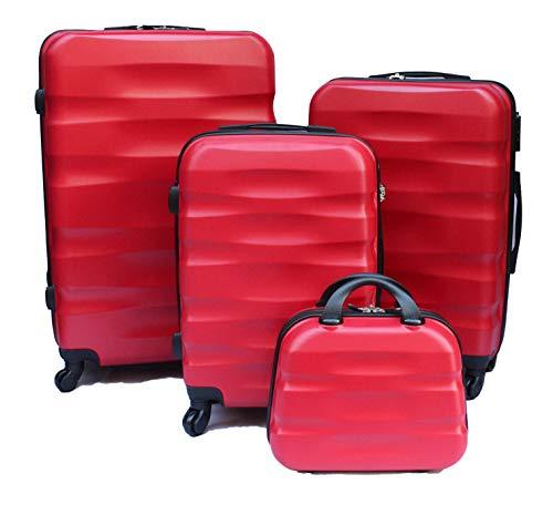 R.Leone Valigia da 1 pezzo Fino a Set 4 Trolley Rigido grande, medio, bagaglio a mano e beauty case 4 ruote in ABS 2050 (Rosso, Set 4 XS+S+M+L)