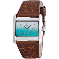 Kahuna Ladies Quartz Watch with Blue Dial Analogue Display and Brown PU Strap KLS-0283L