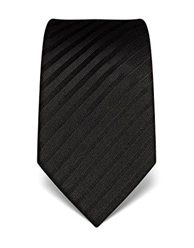 Vincenzo Boretti Herren Krawatte reine Seide gestreift edel Männer-Design gebunden zum Hemd mit Anzug für Business Hochzeit 8 cm schmal / breit schwarz (Reine Seide Schwarz Krawatte)
