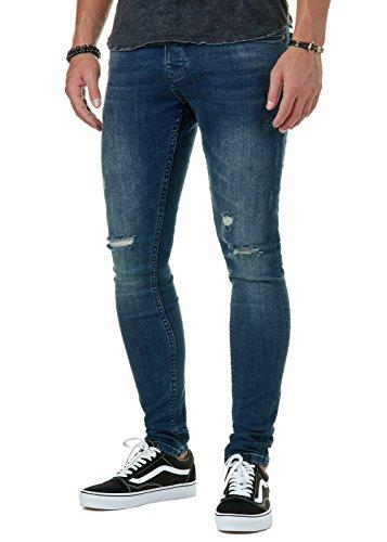 EightyFive Premium Denim Herren Jeans Destroyed Skinny Fit Basic Blau EFJ3341, Farbe:Blau, Hosengröße:W32 L32 (181 Jeans)