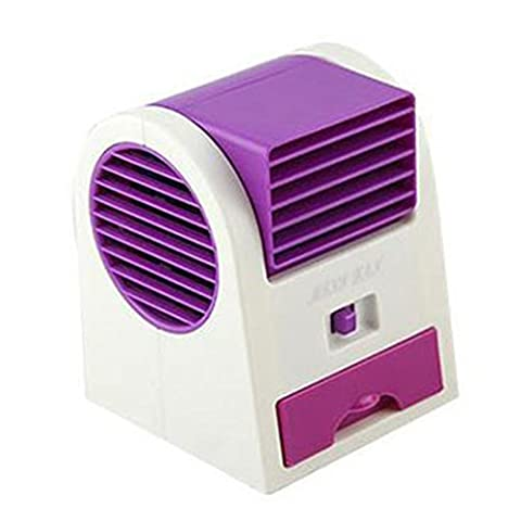 wuayi Home and Office Mini Fan Cooling Portable Desktop Dual Bladeless Air Conditioner USB (purple)