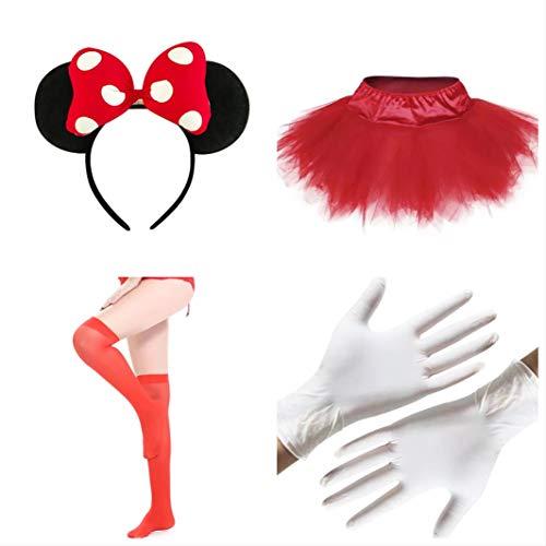 thematys Minnie Maus 4-teilig Kostüm-Set für Damen - Handschuhe, Stirnband, Rock und Strümpfe perfekt für Fasching, Karneval & Cosplay
