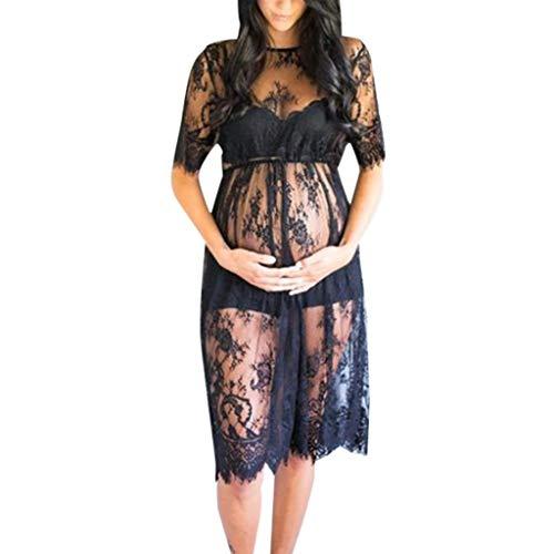 Kleider für Schwangere, Schulterfrei Umstandsmode Sexy Kurzarm Spitze Fotografie Midi-Kostüm Umstandsmode Schwangere Fotoshooting