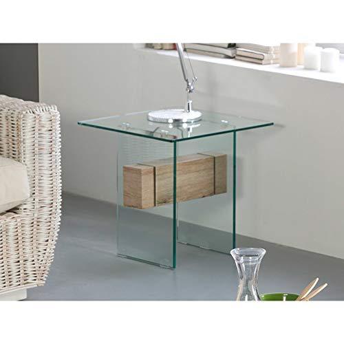 DLM Design Table d'appoint en Verre trempé/Plateau Transverse Bois décor San Remo Rosario