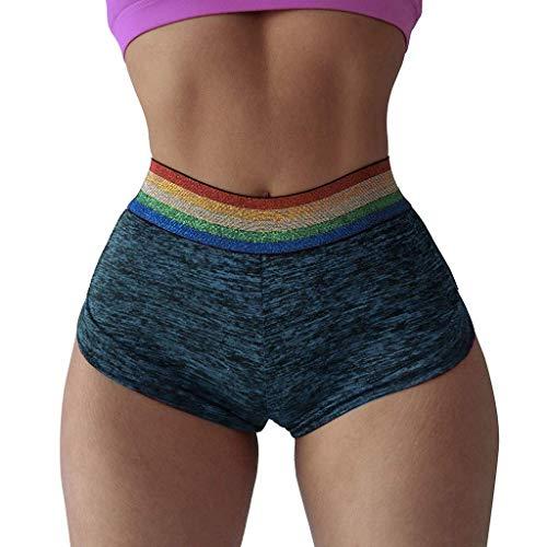 KIMODO® Damen Fitness Yoga Shorts Lässige Tasche Plissee Nähte Kontrastfarbe Hip Hohe Taille Freizeithose