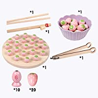 AGLKH Kids Toys Wooden Montessori Toys Clip Beads Fishing Toys Game Multifunctional Learning Early Educational Toys For Children Gift,Pink