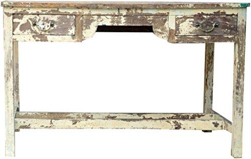 Guru-Shop Estrecha Mesa, Mesa de Salón con 2 Cajones - Blanco Antiguo, 75x121x60 cm, Cómodas y Aparadores