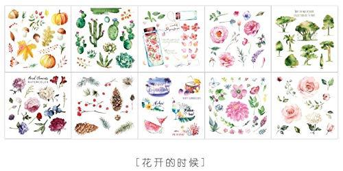 Traum-blatt (yunkanda 10 Blatt Traum Blume Pflanze Reisetagebuch Sticker Transparent Märchen Scrapbooking Dekorativ Niedlich Bullet Journal Sticker 3)