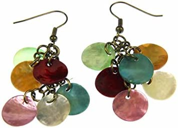 Pendientes colgantes de nácar Miniblings Dangle nácar cristales multicolor triángulo Hippie
