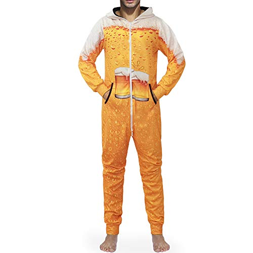 Chickwin Herren Jumpsuit Overall Jogger, Unisex Mädchen Kapuzenpullover Strampelanzug 3D Creative Printed Onepiece Sweatshirt Männer Strampler Nachtwäsche Fitness Bekleidung (M,Bier)