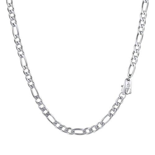 PROSTEEL Herren Halskette Edelstahl Figarokette 4MM Breite 3+1 glänzend Glieder Link Gliederkette Herren Hip-Hop Kette, 66CM lang, Silber