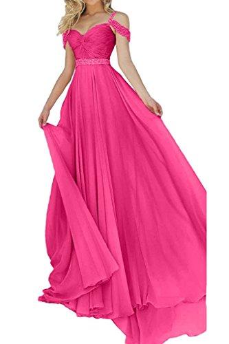 Charmant Damen Weiss Chiffon Festlich Abendkleider Langes Ballkleider Partykleider Lang A-linie Rock Neu Pink