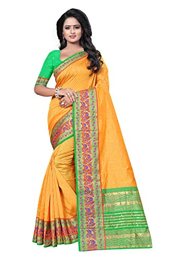 Ecolors Fab Women's Tussar Silk Saree Kanchipuram Style (Multy Yellow)