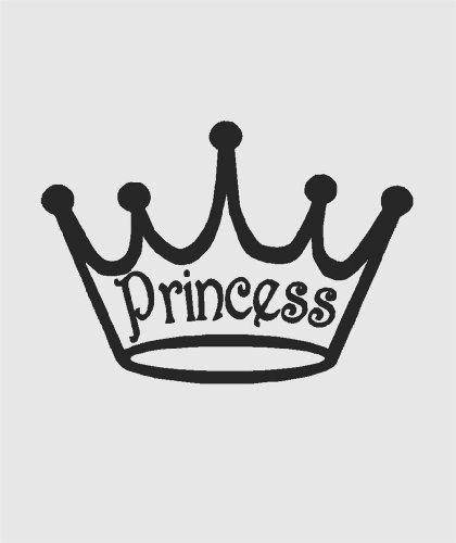 ouette von Mädchen Royal Krone Tiara Clip Art Bild Aufkleber-Abziehen & Aufkleben Aufkleber-VINYL Art Wand Design Größe: 35,6x 71,1cm-22Farben erhältlich ()