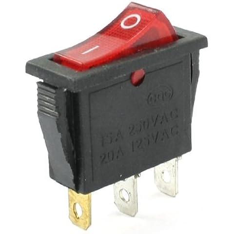 Interruptor 15A 250VAC 20A 125VAC SPST Red Piloto de la lámpara 2 Posición Rocker