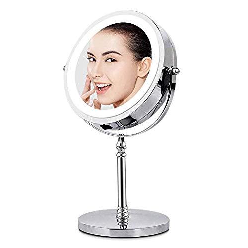 Specchio per trucco double face specchio cosmetico illuminato con luci led ingradimento 1x / 10x 360° girevole per trucco, camera da letto, specchio di viaggio