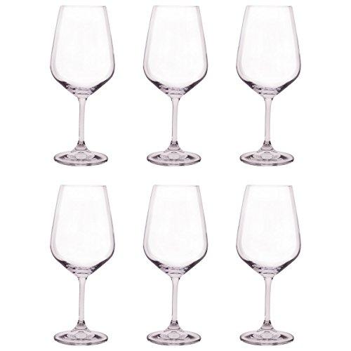 Bohemia Crystal - Juego de 6 copas de vino tintas y blancas, 450 ml, regalo ideal para fiestas, paquete de 6