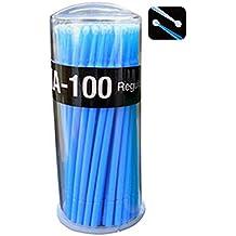 Sunwords 100pcs desechables Micro extensión de pestañas cepillo aplicador Stick Dental toallitas
