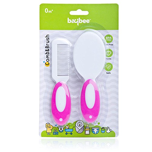Baybee Premium 2-Piece Baby Hair Brush and Comb Set for Newborns and Toddlers |Soft Bristles for Baby ( Pink )