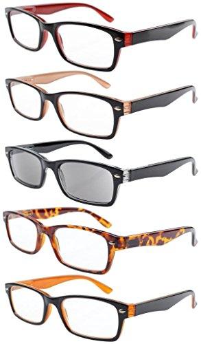 5er pack Kunststoff Fassung Lesebrille mit Federscharniere in Sonneschützt Gläsern + 3.00