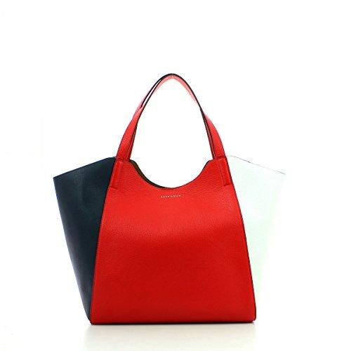Pochette In Pelle Perine Borsa Interna Rosso Blu Con Coccinelle Bianco
