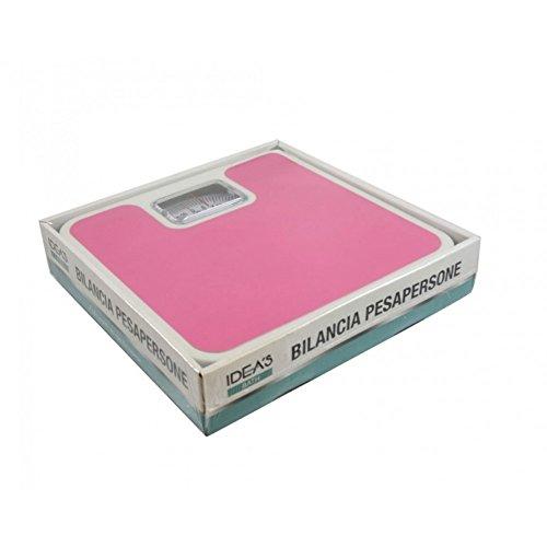 Girm® - hx916769-c7.3 bilancia pesapersone meccanica quadrata rosa e bianca - bilancia pesa persona meccanica colorata - max 130 kg - bilancia moderna - bilancia classica da bagno
