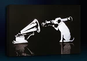 """Banksy HMV Dog (20"""" x 30"""" Inch) Canvas Art Framed Ready To Hang Boxed Gallery Wrapped Wall Decor"""