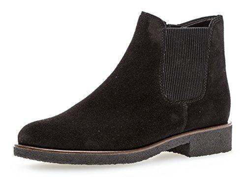 Gabor Damen Chelsea Boots 92.701,Frauen Stiefel,Halbstiefel,Stiefelette,Bootie,Schlupfstiefel,Flach,Blockabsatz 2cm,Einlegesohle,G Weite (Normal),Schwarz (Micro),UK 6.5