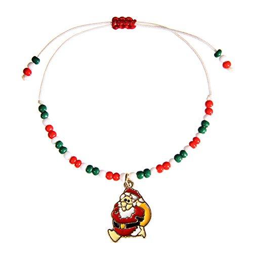 Santa Kostüm Unterschiedliche - ENticerowts Unisex-Armband Weihnachtsmann Schneeflocke baumelnd Perlen verstellbar Handschmuck Santa*