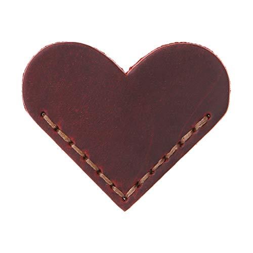 GUOQIAO Segnalibro a forma di cuore realizzato a mano in pelle, accessori per la lettura ad angolo, idea regalo per amanti dei libri, lettori insegnanti, Pelle, WR#, 5.5 x 5.5cm(2.17 x 2.17in)