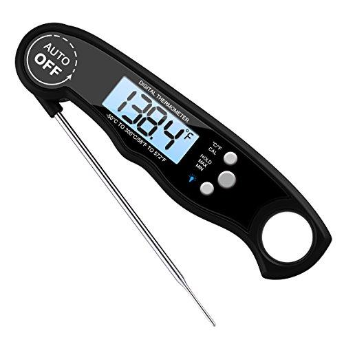 Amir Digital Lebensmittel Thermometer, wasserdicht Kochen Instant Lesen Thermometer Elektronische Fleisch Thermometer mit Sonde für Küche Kochen, BBQ, Geflügel, Grill, Lebensmittel, schnell und automatische An/Aus [Batterie enthalten] (Grill-licht-magnetische)