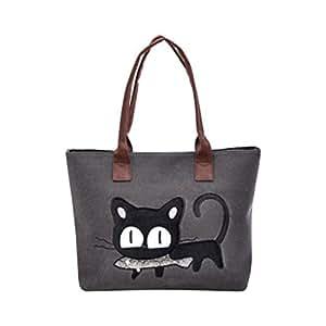 Nouveau femme sac bandouli re sac de toile chat mignon - Sac dejeuner bureau ...