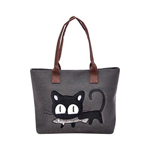 Borsa a tracolla da donna, borsa in tela, borsa da ufficio, stampa gatto. Taglia unica Black Black