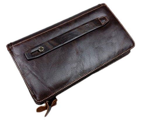 Genda 2Archer Retro Mens Leather Veranstalter Tasche lange Wallet Clutch mit Reißverschluss (Schwarz) Kaffee