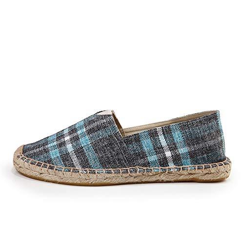Damen Classic Espadrilles,Frauen Canvas Schuhe,Blue,35