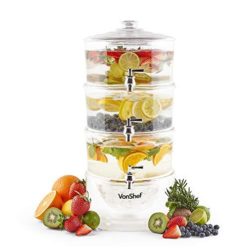 VonShef Dispensador de Bebidas de 3 Niveles con Capacidad de 10.5L, Grifos y Compartimento de Hielo