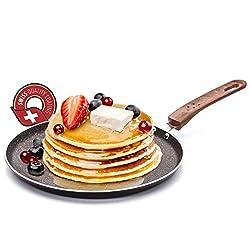 ROSMARINO Crepespfanne, Pfannkuchenpfanne 25 cm Induktion - Crepepfanne Für Alle Kochfelder - Preisgekröntes Pancake Pfanne Design Mit Details aus Holzimitation