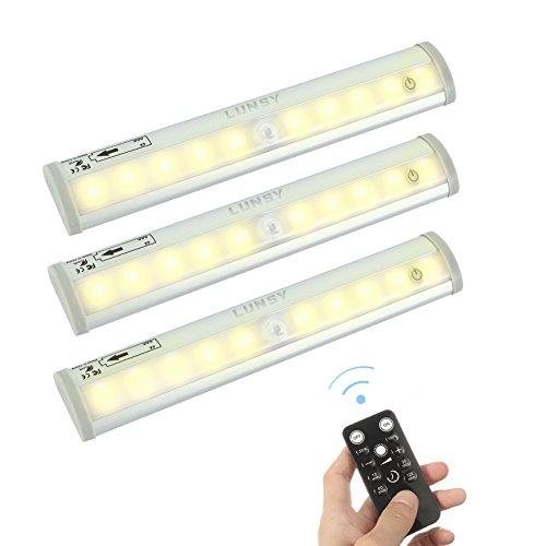 3er LED Unterbauleuchte, Lunsy Unterchrank Leuchte 3000K 120 Lumen Drahtlose Fernbedienung Dimmbar...
