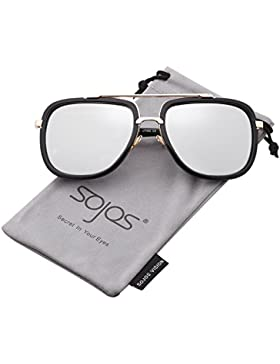SOJOS Gafas de Sol Unisex Hombre Mujer Aviador Rectangulares Moda Grande Dos Puentes Metal SJ1080