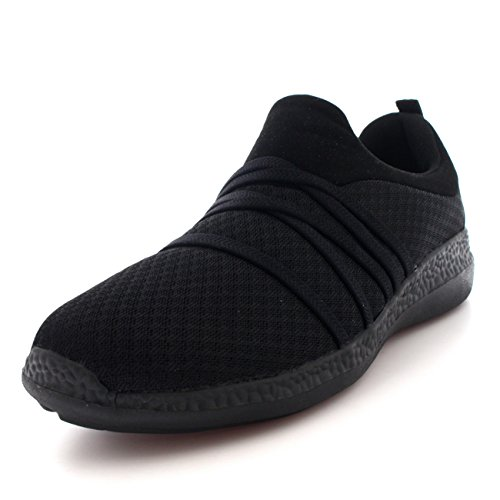 Mujer Ligero Malla para Caminar Confortable Padded Zapatos Plano Entrenadores - Negro/Negro - UK6/EU39 - BS0144