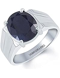 S KUMAR GEMS & JEWELS Certified Natural Blue Sapphire (Neelam) 7.25 Ratti Silver Ring