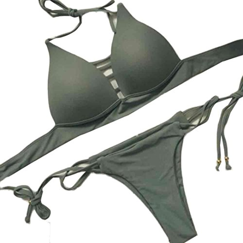 Us-armee-pyjama (Damen Bikini Set erthome Bademode Push-Up gepolsterter BH Badeanzug Beachwear (S, Armee-Grün))