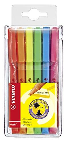 Textmarker - STABILO flash - 6er Pack - mit 6 verschiedenen Farben
