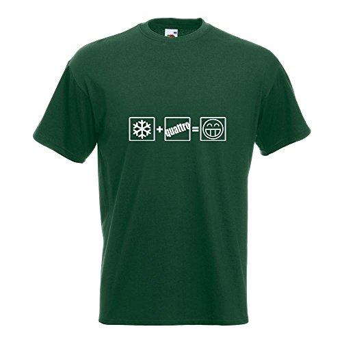 KIWISTAR - Winter Quattro T-Shirt in 15 verschiedenen Farben - Herren Funshirt bedruckt Design Sprüche Spruch Motive Oberteil Baumwolle Print Größe S M L XL XXL Flaschengruen