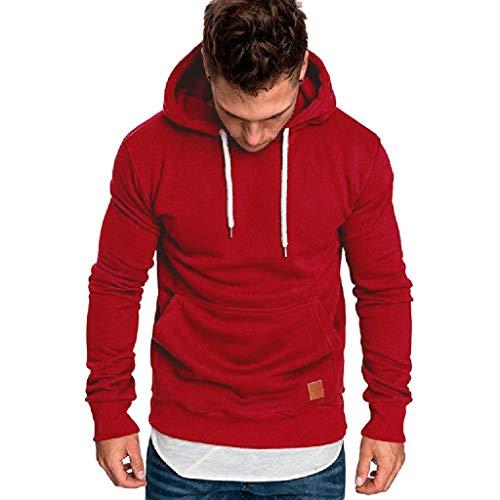 Fenverk Männer Sweatshirt Langarm Herbst Winter Herren Kapuzenpullover | Sale | Casual Sweatshirt Hoodies Top Bluse Trainingsanzüge(B rot,L)