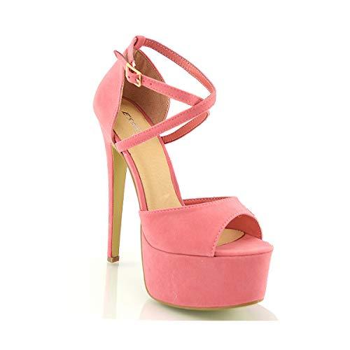 ESSEX GLAM Sandalo Donna Peep Toe con Lacci Plateau Tacco a Spillo Alto (UK 3 / EU 36 / US 5, Corallo Finto Scamosciato)