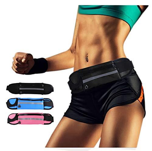Amamcy Unisex Mini wasserdichte Taille Pack Laufen Brust Tasche Slim Fanny Pack Sport Bauchtasche für Männer und Frauen, Unisex, schwarz, One Size - Slim Brust